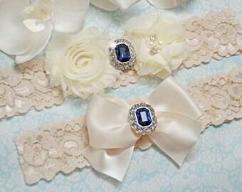 Wedding Garter, Ivory Wedding Garter Set, Bridal Garter, Garter Set, Ivory Lace Wedding Garters, Stretch Lace, Blue Rhinestone Garter Set