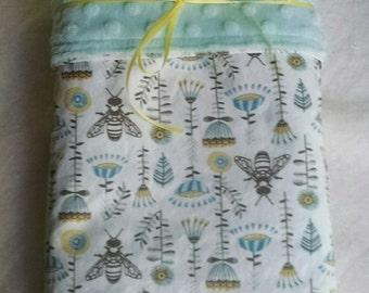 Minky Baby Blanket, Norwegian Wood, Bees, White, Blue, Grey, Hawthorne Threads, Beekeeping, Gender Neutral