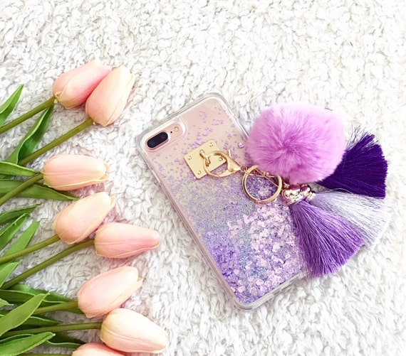 pump glitter iphone case with pom pom