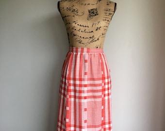 plaid midi skirt   picnic skirt
