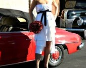Tea Length Wedding Dress-Short Wedding Dress-Retro Wedding Dress-Maternity Wedding Gown-Coco Layered-Ruffled Taffeta Wrap with Tie Sash