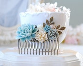 Baby Blue Beige Ivory Gray Flower Collage Hair Comb, Leaf Rose Floral Rhinestone Large Comb, Something Blue Wedding Bridal Hair Accessory