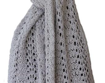 Hand Knit Scarf - Ash Grey Feather & Fan Alpaca Lace