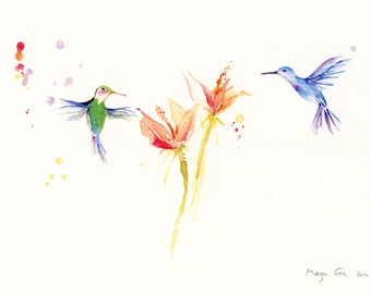 Blue&Green Hummingbirds - a print of my original watercolor painting wall Art - 8 x 10 inch - 20 x 25 cm