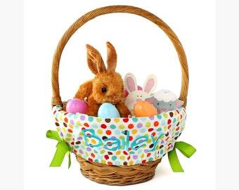 Personalized Easter Basket Liner, Multi Polka Dots, Basket not included, Monogrammed Easter basket liner, Custom basket liner with name