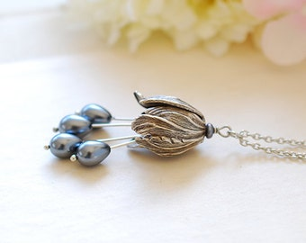 Tulip Necklace, Grey Gray Teardrop Pearls Silver Tulip Pendant Necklace, Tulip Jewelry, Vintage Style Flower Necklace, mothers day gift