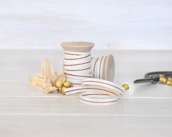 """Natural Cotton Ribbon with Copper - 5, 20 or 109 Yards - Ribbons - 1/4"""" Wide - Natural with Copper - DIY Weddings - Metallic Ribbons - Trims"""