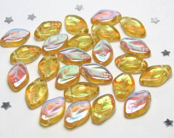 Czech Glass Leaf Bead 12mm x 8mm - Transparent Light Topaz Yellow Aurora Borealis AB - 25 beads - Fall Autumn Leaves, Golden Leaf