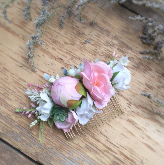 Pink Succulent Flower Comb- Rose Bridesmaids Hair Accessory- Boho Wedding Headpiece- Blush Wedding Accessory