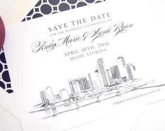 Miami Skyline Hand Drawn Save the Date Cards (set of 25 cards)