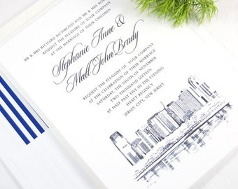Jersey City Skyline Wedding Invitations Package (Sold in Sets of 10 Invitations, RSVP Cards + Envelopes)