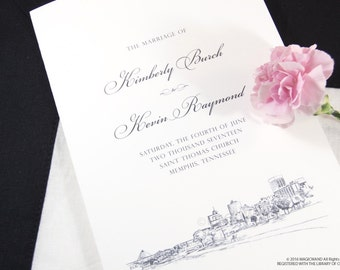 Memphis Skyline Wedding Programs (set of 25 cards)