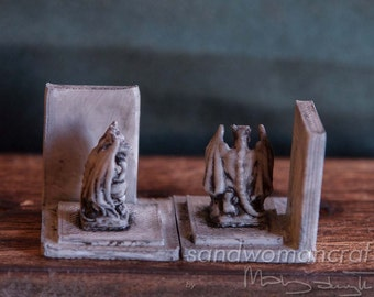 Miniature bookends with Gargoyles. Perfect set for miniature library, display with books, desk, dollhouse miniatures, study, magic, wizard