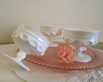 Vintage Set of Thumb print Milk Glass Dessert Dishes Set of 4