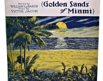 On Miami Shore (Golden Sands of Miami) Waltz Vintage Sheet Music 1919