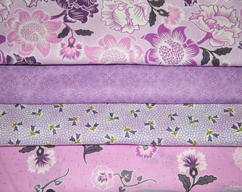 4 FQ Bundle – SHADES of LAVENDER Floral Prints 100% Cotton Quilt Craft Fabric Fat Quarters V3
