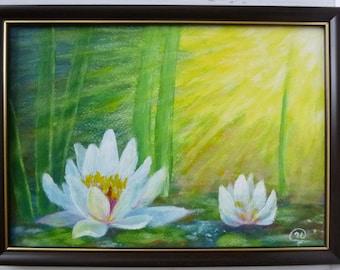 Original Painting, Lotus, Impressionism, Fine art, 9 x 12, Gouache painting,  Wall decor, Original artwork