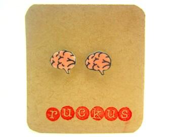 Brain Stud Earrings, Brain Jewelry, Anatomy Earrings, Anatomy Jewelry, Biology Earrings, Biology Jewelry, Science Gift, Science Earrings