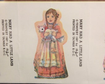 Vintage Tempest Mary had a Little Lamb. 8 Sealed Stickers