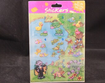 Vintage Gibson 6 Sheet Sesame Street Stickers. Sealed