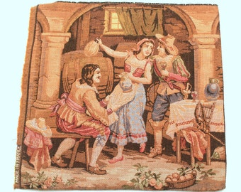 French tapestry- Old weaving- Wall decoration- Goblin- Small cadre- French tissage- vintage