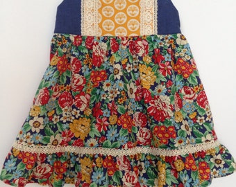 Girls summer dress - baby dress - floral dress - spring dress - red dress - blue dress - layering dress -  Anna Maria Horner
