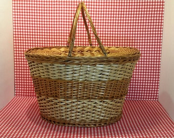 Vintage Basket, Large Wicker Basket, Yarn Basket, Picnic Basket, Wicker Storage Basket, Craft Basket, Gifts Under 50
