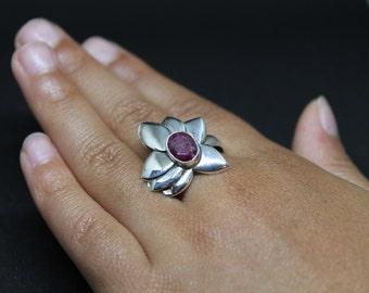 Sterling Silver Raw Ruby Flower Ring