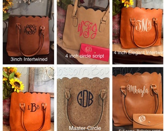 Monogrammed scalloped purse/handbag/ tote
