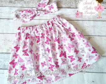Pink butterfly fabric skirt with headwrap age 4-5