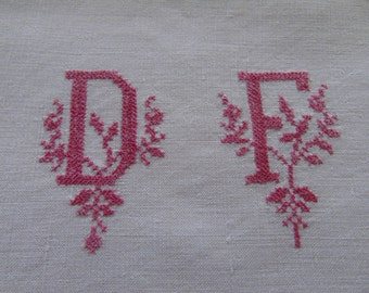 French antique, linen sheet ~ measuring  9ft 11 inches  (304cm)   x 7ft 2 inches (218cm).  With D.F. mono worked in tiny red cross stitch.