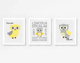 Yellow and Grey Nursery Wall Art, Owl Nursery Print, Personalised Gift for New Baby, Gender Neutral Nursery, Personalised Christening Gift