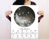 Moon calendar 2016, Lunar calendar, Moon phases, Witches calendar, Bohemian wall art, print