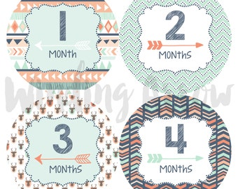 Baby Monthly Milestone Stickers Baby Boy Month Sticker Photo Shower Gift First Year Belly Stickers 12 Months Blue and Orange Tribal Arrows