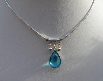 Necklace sterling silver with Blue Topaz drop, extravagant in design