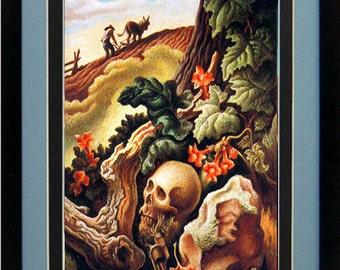 Thomas Hart Benton Spring Landscape Art Skull Custom Framed A+ Quality