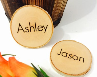 5 Rustic place cards - wedding place cards - wood tree slice wedding decor