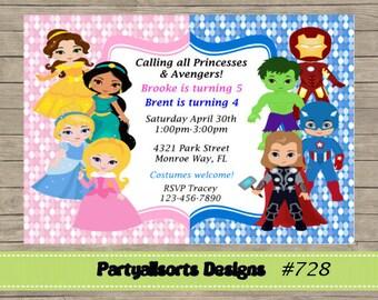 DIY - Avengers Superhero and Princesses Childrens Invitation