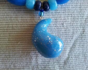 Polymer Clay Mokume-nendo Raindrop Pendant