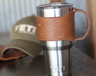 The Rocket City 30 oz Yeti Personalized Leather Drink Cooler Wrap with Handle in Tan for YETI Rambler Tumbler Tumblers - Yeti Handle