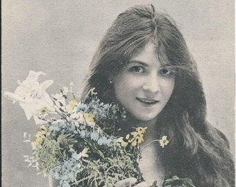 Stunning Antique Photo Montage Postcard by E.Ernst - Girl with Flowers