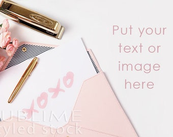 Valentine's Day Mock up / Styled Stock Photography /  Valentine's Day Stock Photo / Pink and Gold  / Background Photo / StockStyle-628