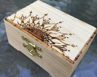 Wood burned mandala trinket treasure box