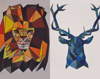 Symmetric Lion/ Deer Art Print