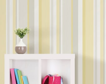 Yellow Awning Stripe Peel and Stick Wallpaper NU1403-Sold By The Yard