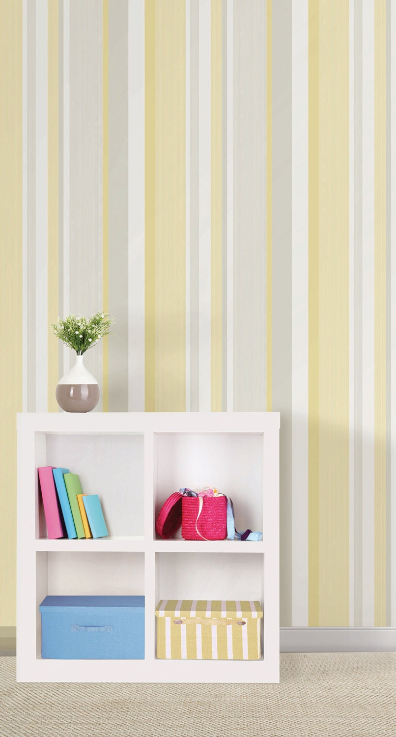 Yellow Awning Stripe Peel And Stick Wallpaper Nu1403 Sold By