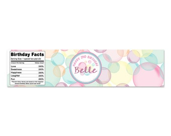 Water Bottle Label Bubble Party Theme