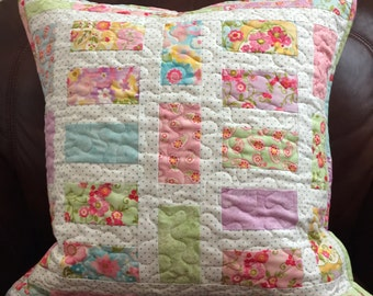 Handmade Quilted Pillow Colette Fabric by Moda