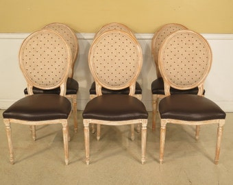 28240E:  Set Of 6 French Louis XV Style DIstressed Painted Dining Chairs