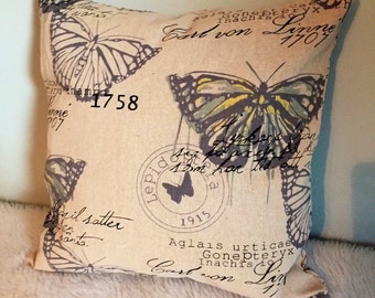 Butterfly Throw Pillow Cover with Scripted Font